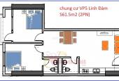 Bán căn góc tầng 9 VP5 diện tích 61.5m2 x 2PN, Linh Đàm