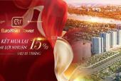 MUA CĂN HỘ EURO RIVER TOWER, CK 12%, CAM KẾT MUA LẠI LỢI NHUẬN 15%, HỖ TRỢ VAY 65% - LH 0834186111