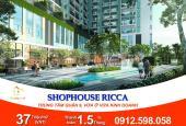18 căn shophouse trung tâm Q9, 115m2 - 244m2, giá chỉ từ 37 triệu/m2 (vat). TT 75 triệu/ tháng