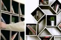 Tủ sách treo tường có thể xoay thành các hình dạng khác nhau