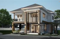 Phương án thiết kế biệt thự 2 tầng theo phong cách mái Thái trên mảnh đất 100m2