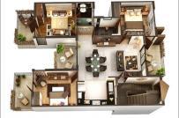Những mẫu thiết kế nội thất căn hộ 3 phòng ngủ dành cho gia đình đông người