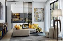Mẫu phòng khách ấm áp, ấn tượng khi sử dụng nội thất màu vàng