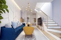 Cầu thang nghệ thuật tạo điểm nhấn cho phòng khách hiện đại