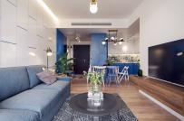 Mẫu căn hộ 82m2 dành cho những người thích gam màu trắng, xanh dương