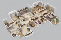 Tham khảo các phương án bố trí mặt bằng nội thất căn hộ 4 phòng ngủ