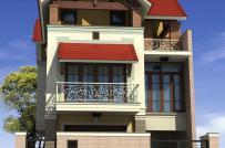 Phương án thiết kế biệt thự 3 tầng mái Thái hiện đại trên đất chỉ có một mặt thoáng