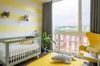 Tạo điểm nhấn cho phòng ngủ trẻ sơ sinh với sắc vàng rực rỡ