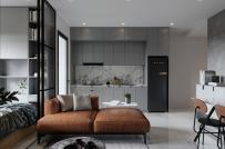 Thú vị căn hộ nhỏ ở Hà Nội với phòng ngủ tích hợp trong phòng khách