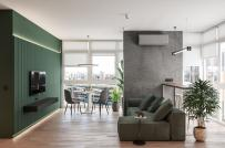 Sắc xanh lá cây phối kết tinh tế trong căn hộ 90m2
