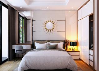 Mẫu thiết kế phòng ngủ vợ chồng mới cưới trên diện tích 18m2