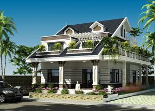 Mẫu thiết kế biệt thự 2 tầng mái Thái 4 phòng ngủ thoáng đẹp