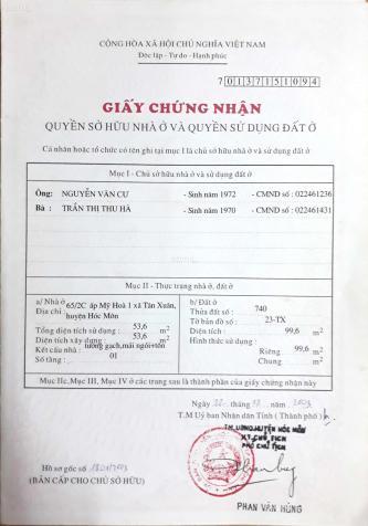 Nhà mặt tiền Đồng Tâm, xã Trung Chánh, Hóc Môn; Giá chỉ 3,7 tỷ TL 13042682