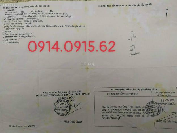 Cần bán 195m2 Đức Hoà Đông, giá 1 tỷ 360tr thương lượng, sổ hồng riêng, LH: 0914.0915.62 13536835