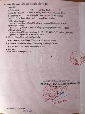 Bán gấp lô đất Dt 9.5 * 32m thổ cư 140m2 tại TT Lộc Thắng, H. Bảo Lộc. LH 0987723561 13592795