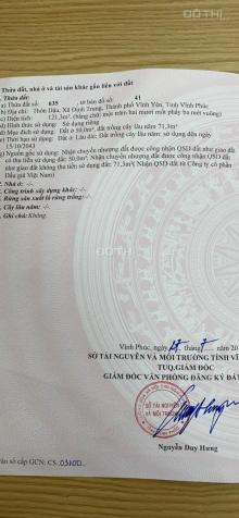 Bán đất trung tâm thành phố Vĩnh Yên. DT 100m2, và 121m2 xã Định Trung 13642286