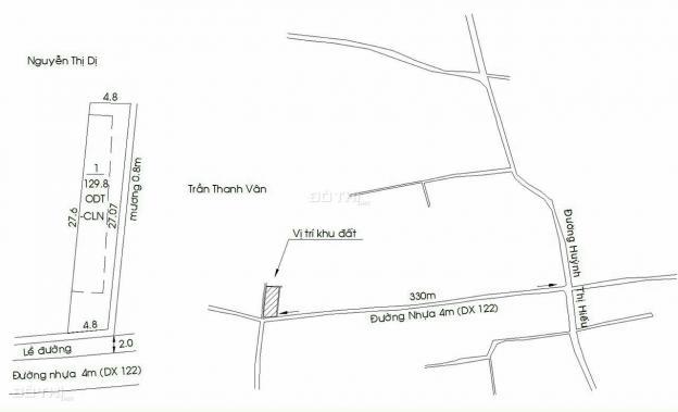 Bán đất tại đường DX 122, phường Tân An, Thủ Dầu Một, Bình Dương diện tích 129.6m2 giá 1.59 tỷ 13685204